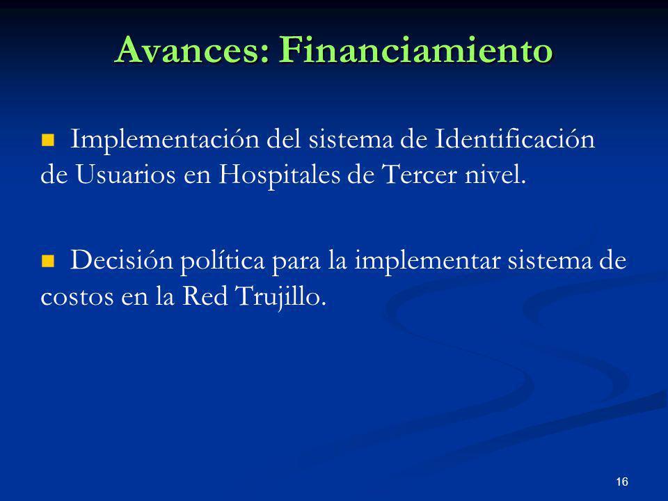 Avances: Financiamiento