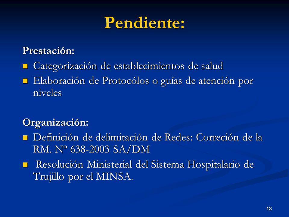 Pendiente: Prestación: Categorización de establecimientos de salud