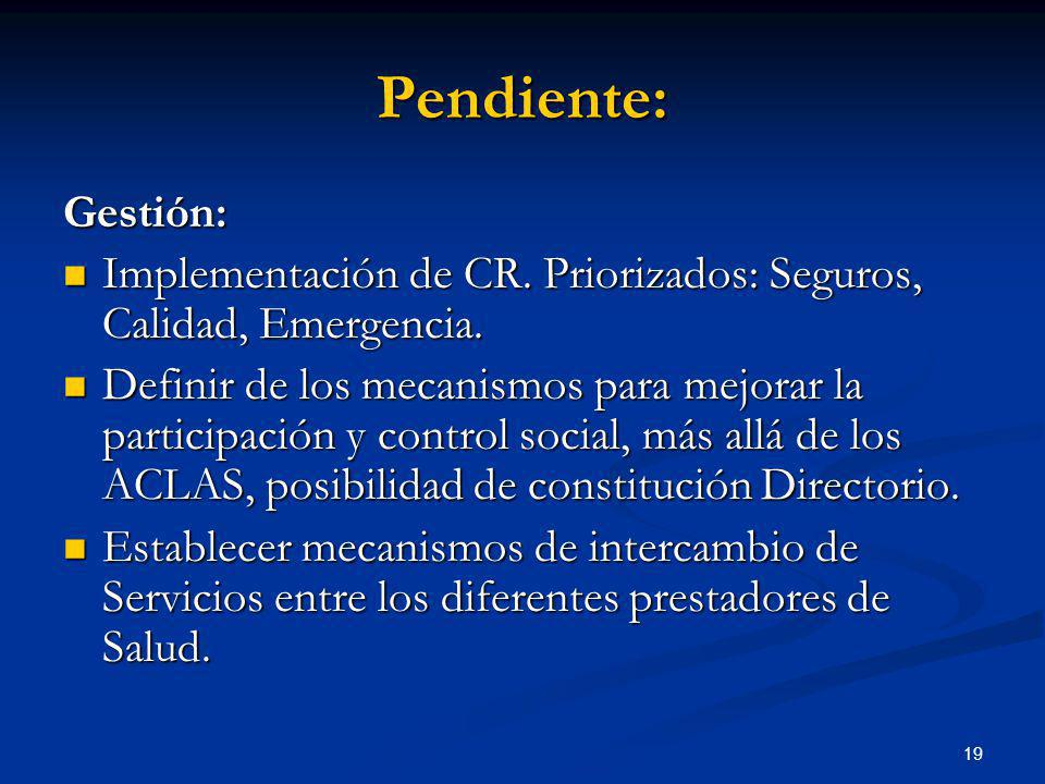 Pendiente: Gestión: Implementación de CR. Priorizados: Seguros, Calidad, Emergencia.