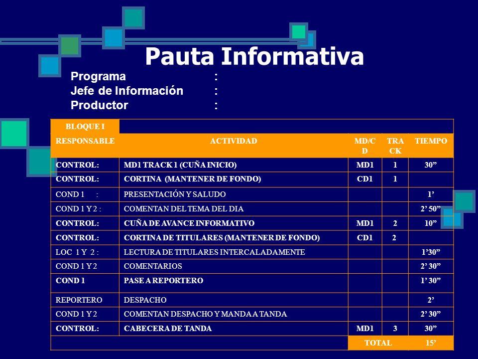 Pauta Informativa Programa : Jefe de Información : Productor :