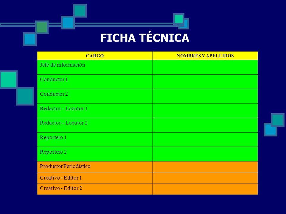FICHA TÉCNICA Jefe de información Conductor 1 Conductor 2