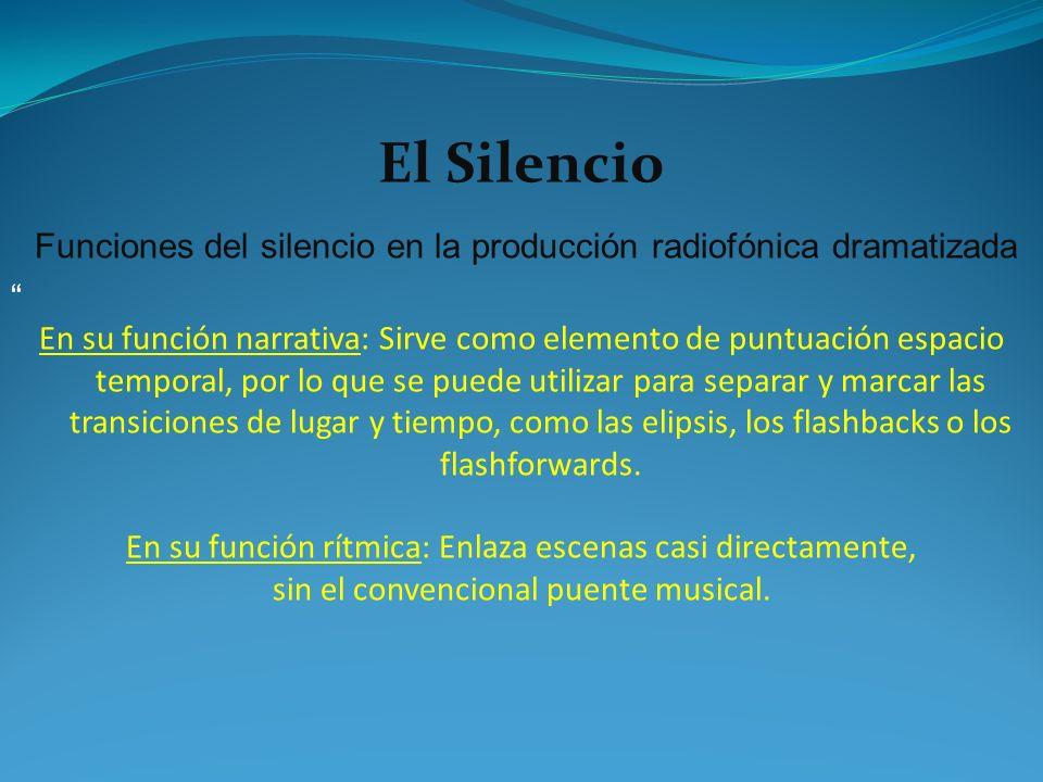 El Silencio Funciones del silencio en la producción radiofónica dramatizada.