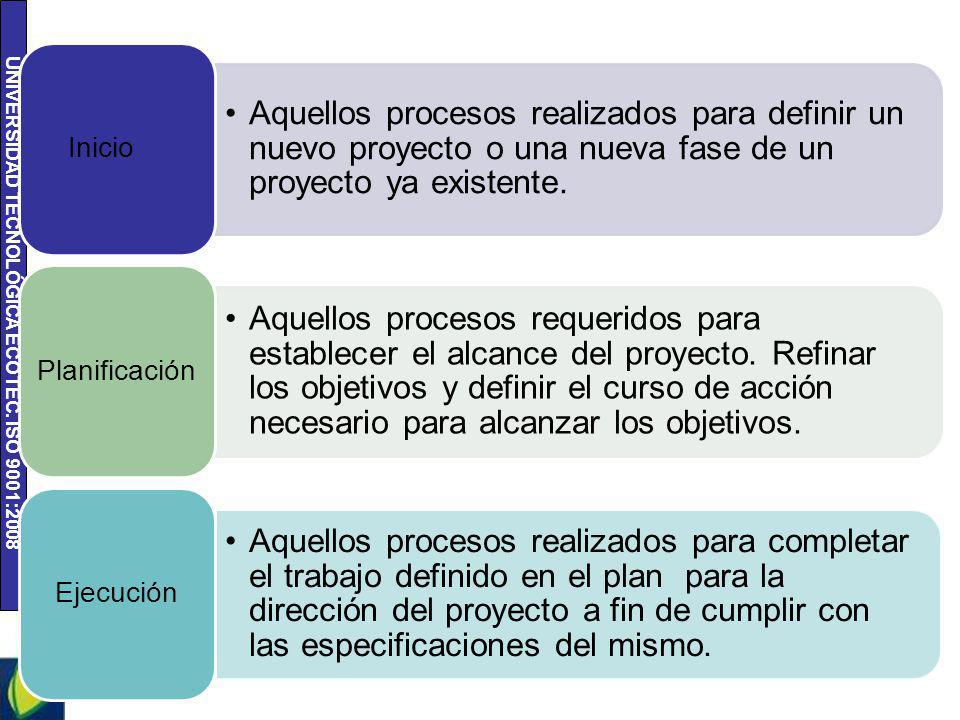 Aquellos procesos realizados para definir un nuevo proyecto o una nueva fase de un proyecto ya existente.
