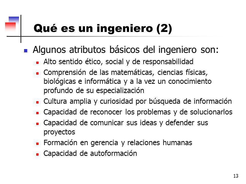 Qué es un ingeniero (2) Algunos atributos básicos del ingeniero son: