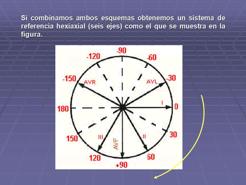 Si combinamos ambos esquemas obtenemos un sistema de referencia hexiaxial (seis ejes) como el que se muestra en la figura.