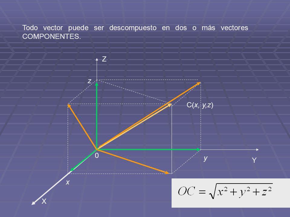Todo vector puede ser descompuesto en dos o más vectores COMPONENTES.