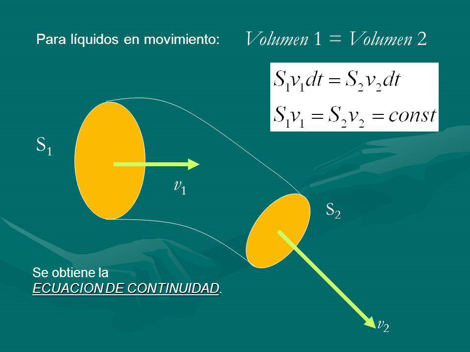 Volumen 1 = Volumen 2 S1 v1 S2 v2 Para líquidos en movimiento: