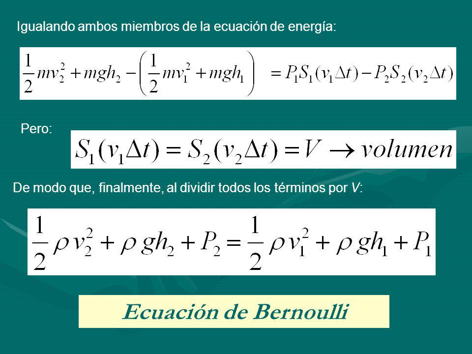 Igualando ambos miembros de la ecuación de energía: