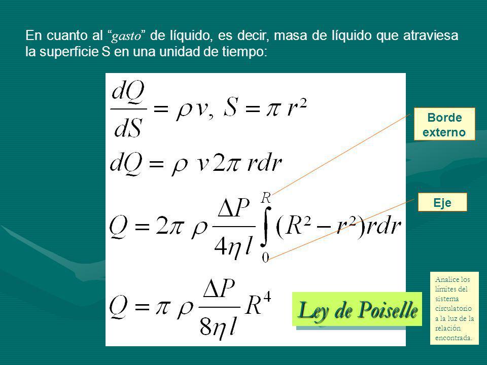 En cuanto al gasto de líquido, es decir, masa de líquido que atraviesa la superficie S en una unidad de tiempo: