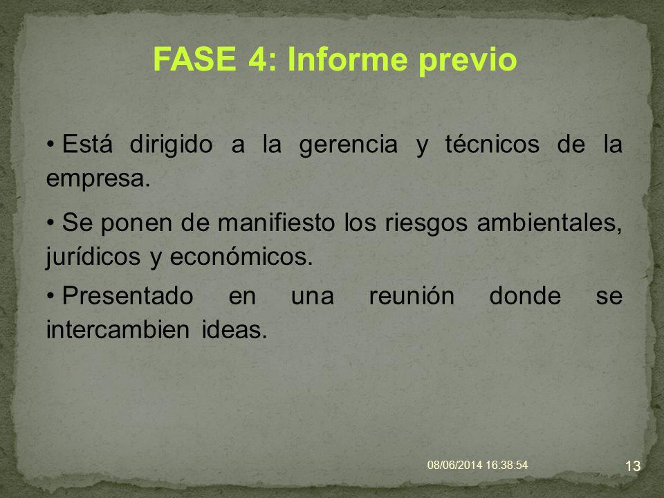 FASE 4: Informe previo Está dirigido a la gerencia y técnicos de la empresa.