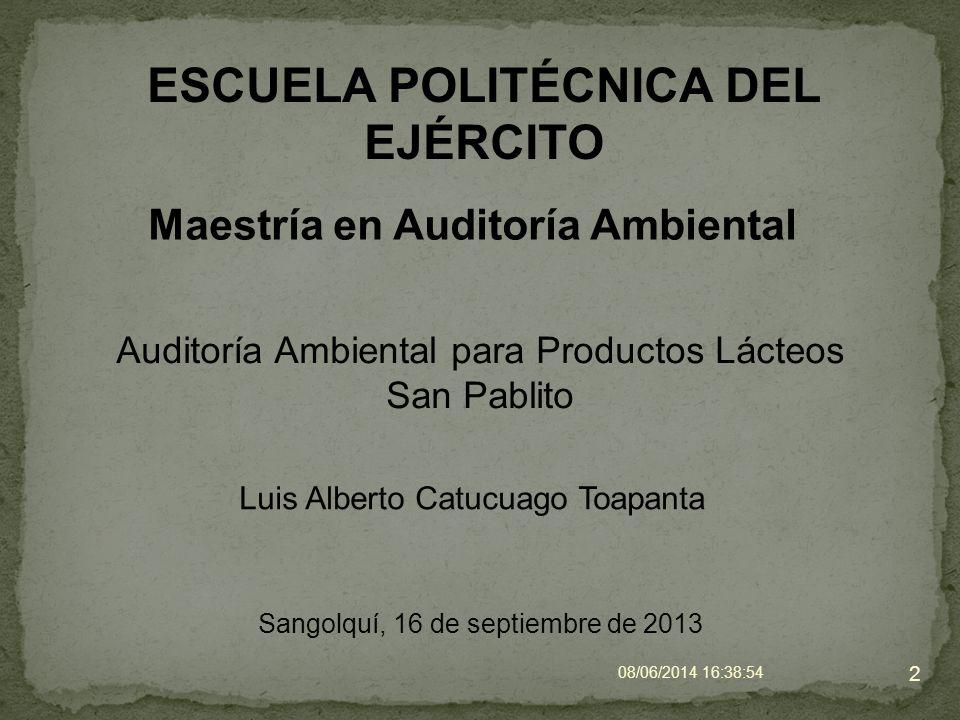 ESCUELA POLITÉCNICA DEL EJÉRCITO Maestría en Auditoría Ambiental