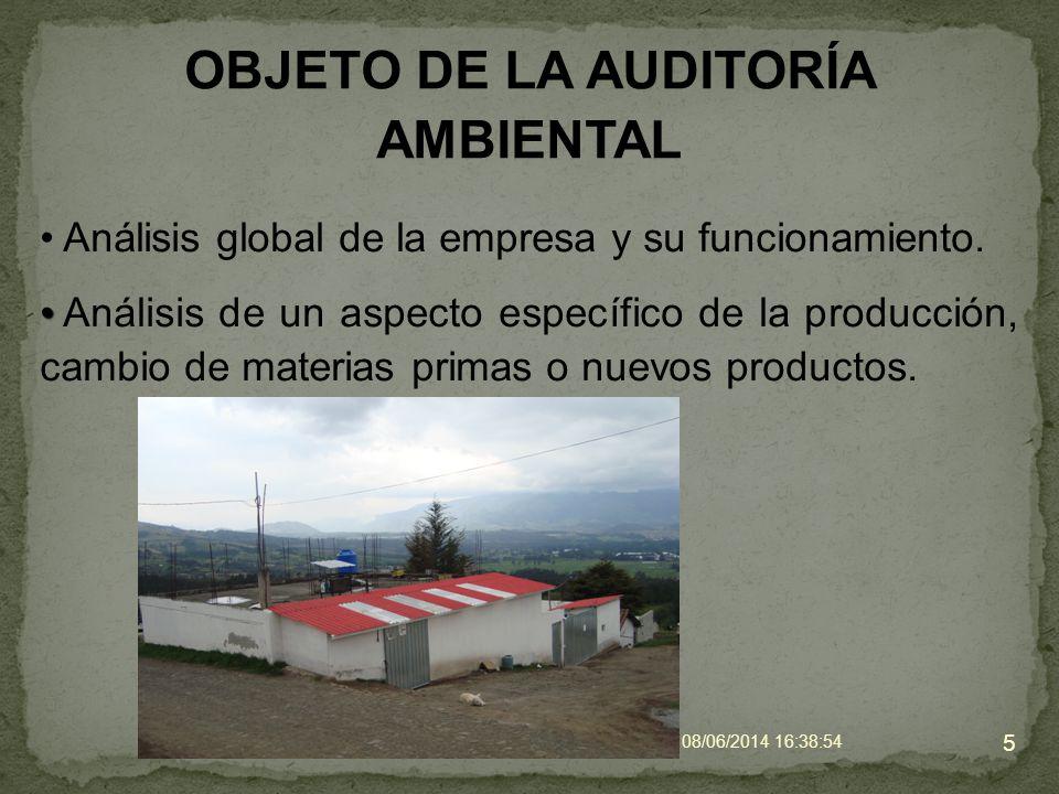 OBJETO DE LA AUDITORÍA AMBIENTAL