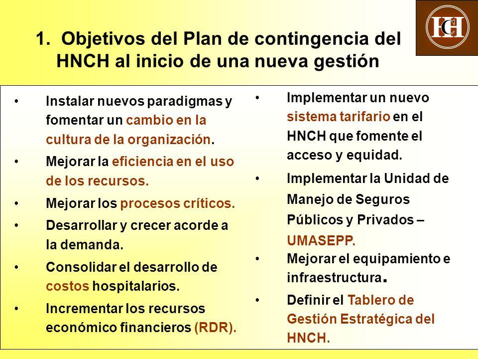 H C. 1. Objetivos del Plan de contingencia del HNCH al inicio de una nueva gestión.