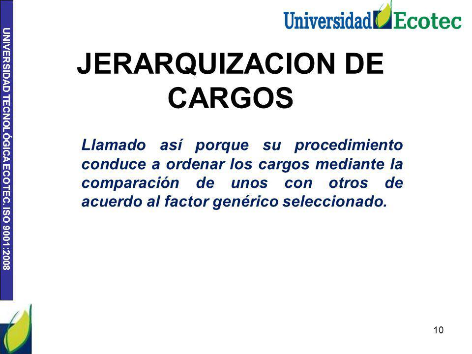 JERARQUIZACION DE CARGOS
