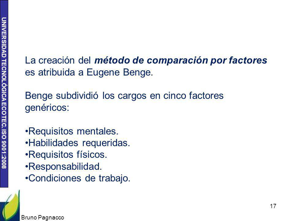 Benge subdividió los cargos en cinco factores genéricos: