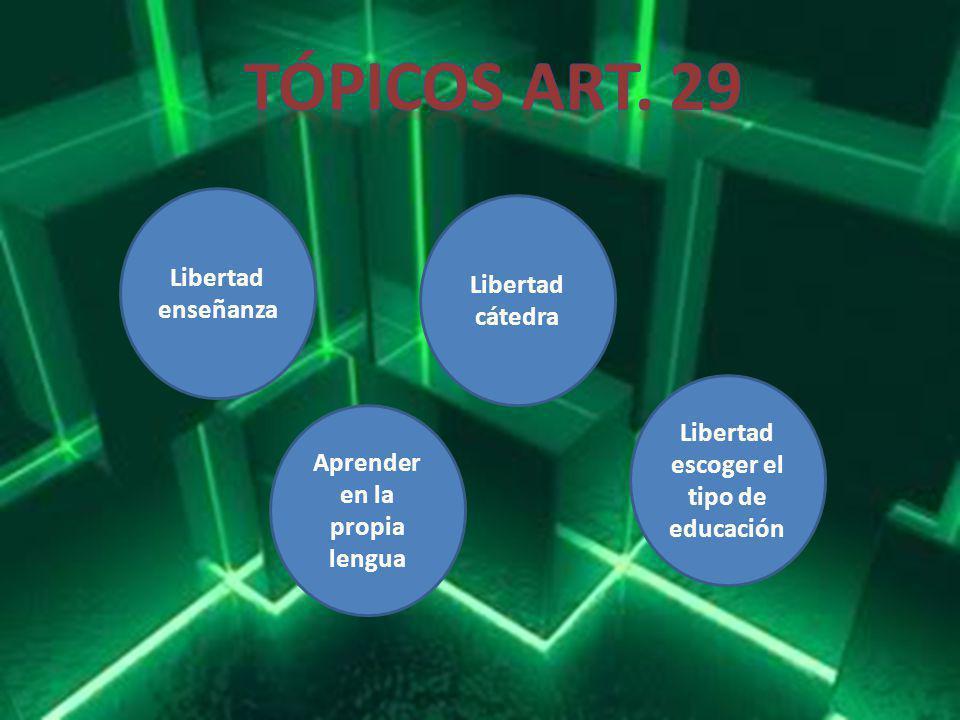 Libertad escoger el tipo de educación Aprender en la propia lengua