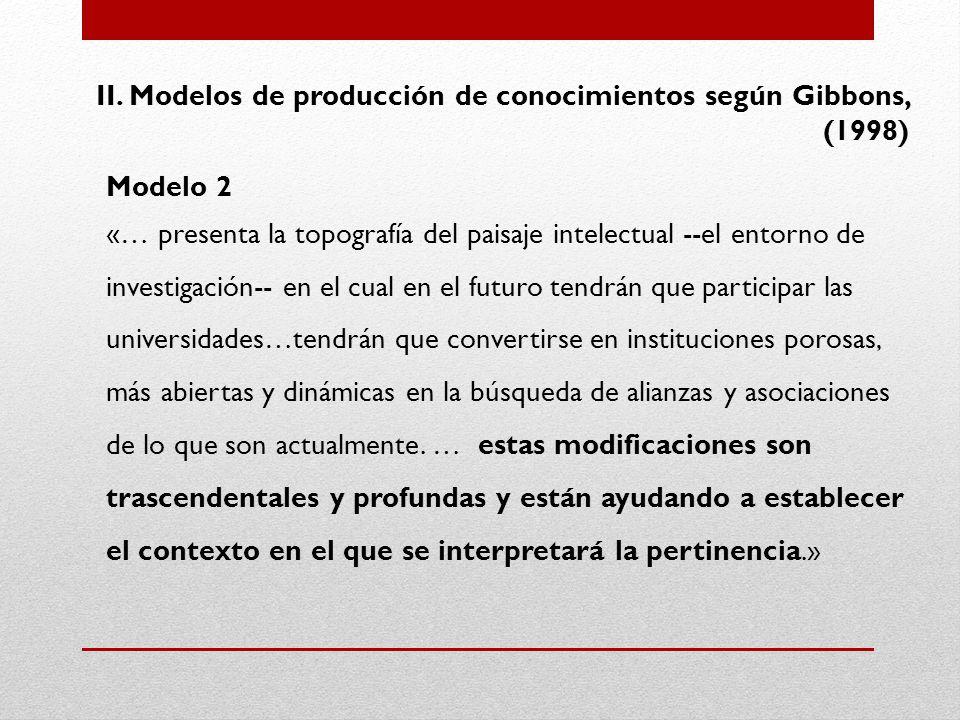 II. Modelos de producción de conocimientos según Gibbons, (1998)
