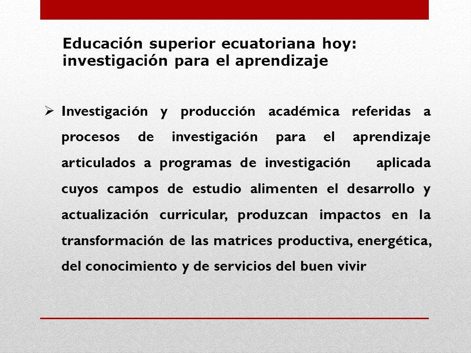 Educación superior ecuatoriana hoy: investigación para el aprendizaje