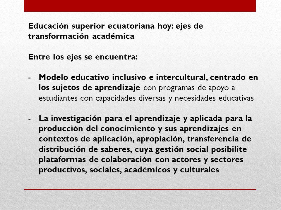 Educación superior ecuatoriana hoy: ejes de transformación académica