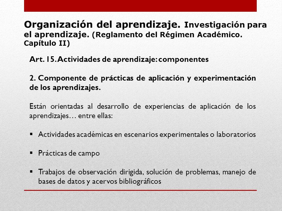 Organización del aprendizaje. Investigación para el aprendizaje