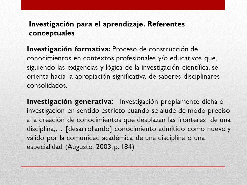 Investigación para el aprendizaje. Referentes conceptuales