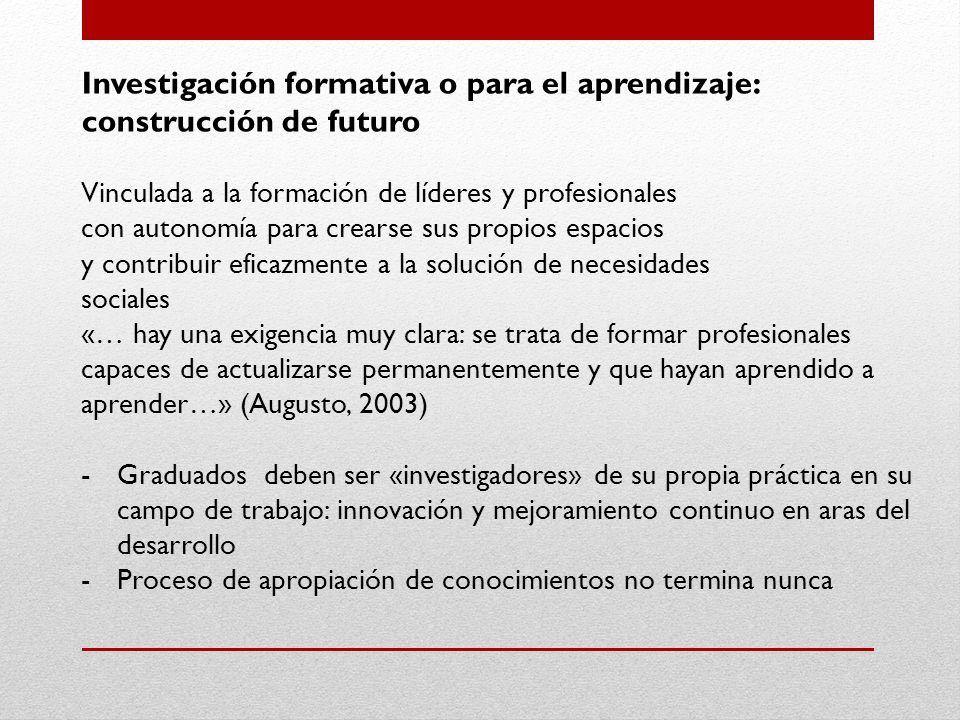 Investigación formativa o para el aprendizaje: construcción de futuro