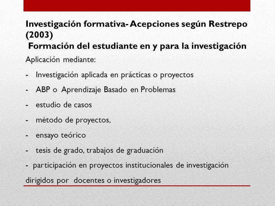 Investigación formativa- Acepciones según Restrepo (2003)