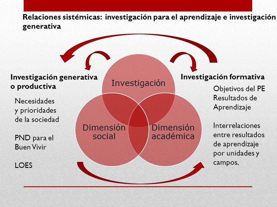 Investigación Dimensión académica Dimensión social