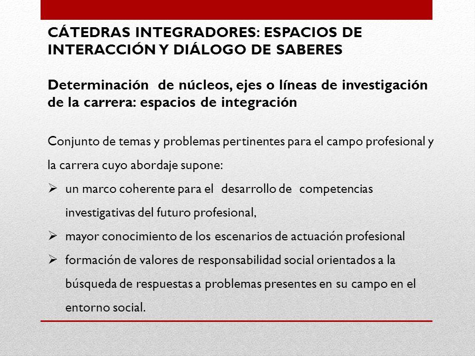 CÁTEDRAS INTEGRADORES: ESPACIOS DE INTERACCIÓN Y DIÁLOGO DE SABERES