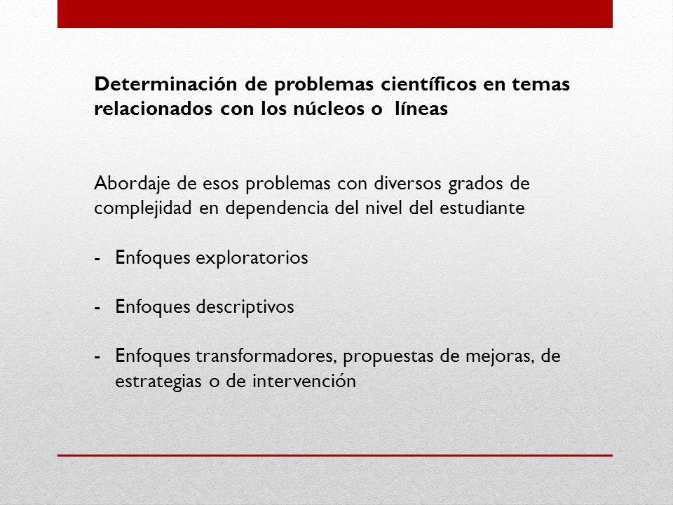 Determinación de problemas científicos en temas relacionados con los núcleos o líneas