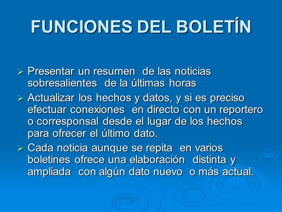 FUNCIONES DEL BOLETÍN Presentar un resumen de las noticias sobresalientes de la últimas horas.