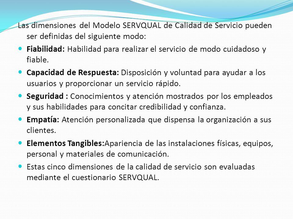 Las dimensiones del Modelo SERVQUAL de Calidad de Servicio pueden ser definidas del siguiente modo: