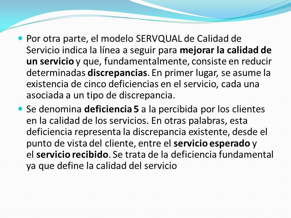 Por otra parte, el modelo SERVQUAL de Calidad de Servicio indica la línea a seguir para mejorar la calidad de un servicio y que, fundamentalmente, consiste en reducir determinadas discrepancias. En primer lugar, se asume la existencia de cinco deficiencias en el servicio, cada una asociada a un tipo de discrepancia.