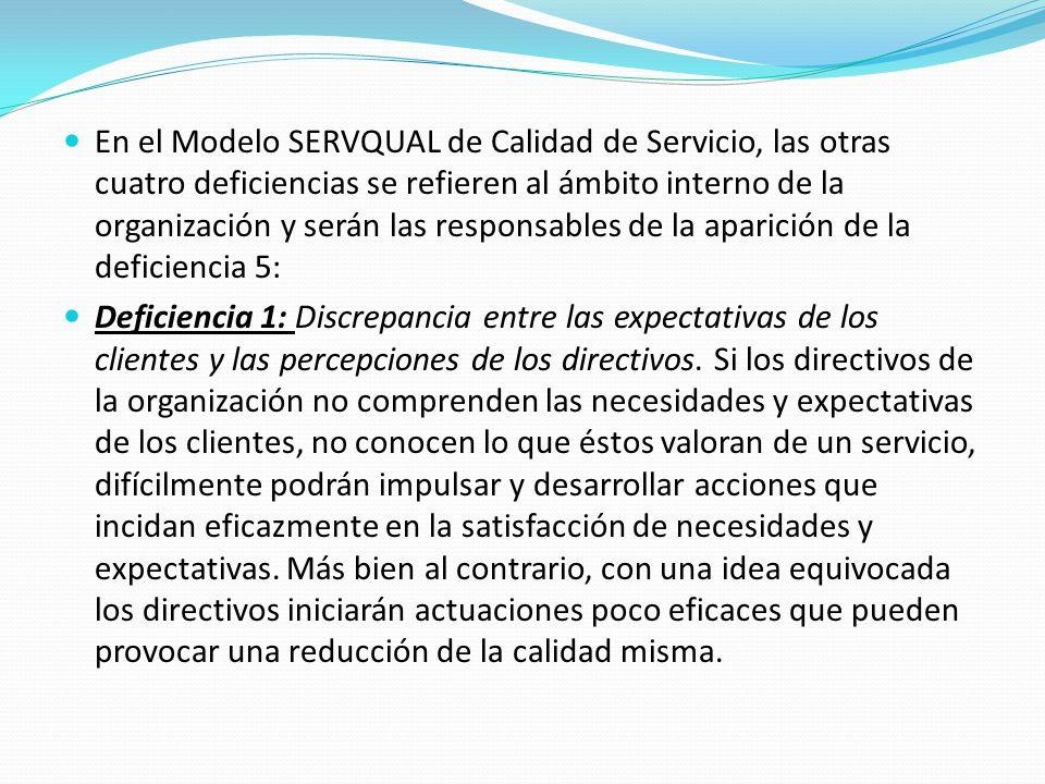 En el Modelo SERVQUAL de Calidad de Servicio, las otras cuatro deficiencias se refieren al ámbito interno de la organización y serán las responsables de la aparición de la deficiencia 5: