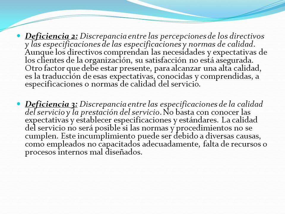 Deficiencia 2: Discrepancia entre las percepciones de los directivos y las especificaciones de las especificaciones y normas de calidad. Aunque los directivos comprendan las necesidades y expectativas de los clientes de la organización, su satisfacción no está asegurada. Otro factor que debe estar presente, para alcanzar una alta calidad, es la traducción de esas expectativas, conocidas y comprendidas, a especificaciones o normas de calidad del servicio.