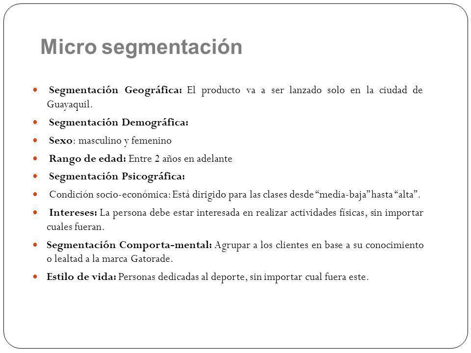 Micro segmentación Segmentación Geográfica: El producto va a ser lanzado solo en la ciudad de Guayaquil.