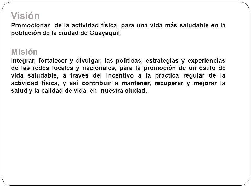 Visión Promocionar de la actividad física, para una vida más saludable en la población de la ciudad de Guayaquil.