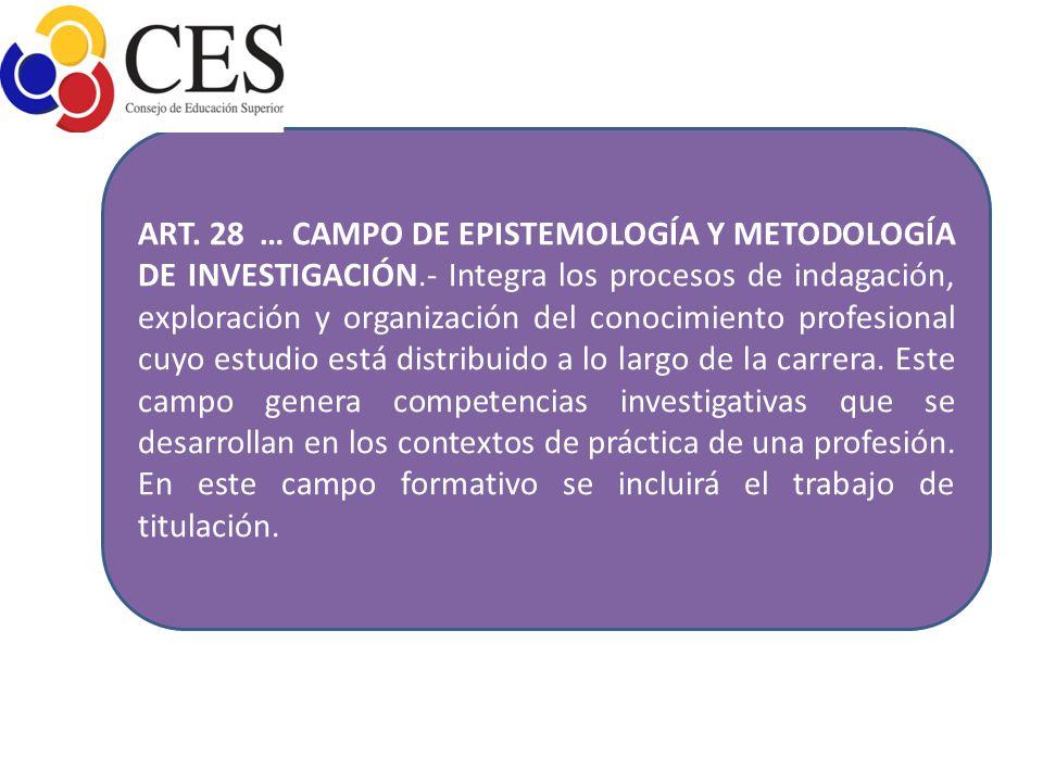 ART. 28 … CAMPO DE EPISTEMOLOGÍA Y METODOLOGÍA DE INVESTIGACIÓN
