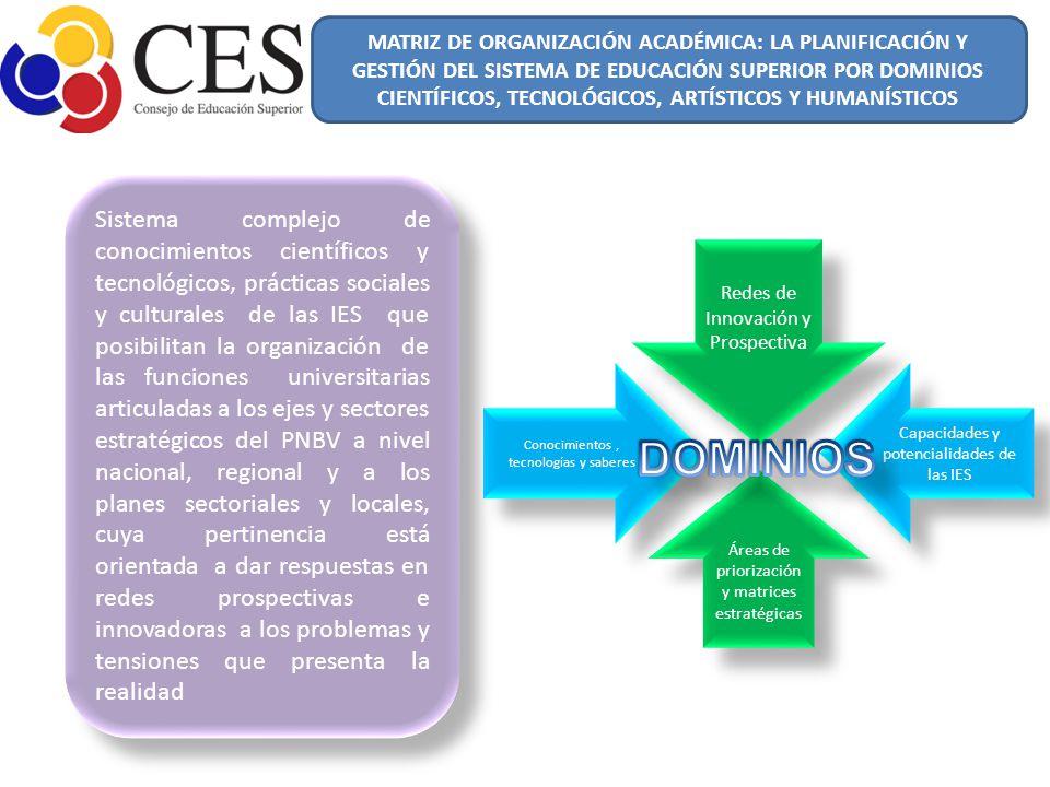 MATRIZ DE ORGANIZACIÓN ACADÉMICA: LA PLANIFICACIÓN Y GESTIÓN DEL SISTEMA DE EDUCACIÓN SUPERIOR POR DOMINIOS CIENTÍFICOS, TECNOLÓGICOS, ARTÍSTICOS Y HUMANÍSTICOS