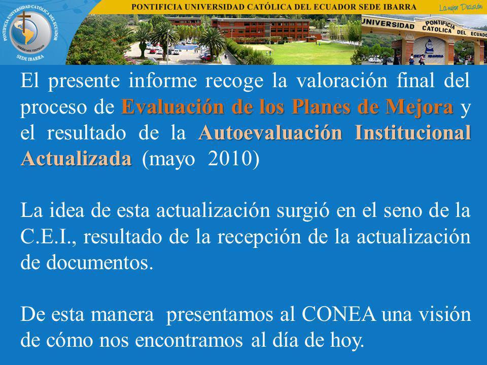 El presente informe recoge la valoración final del proceso de Evaluación de los Planes de Mejora y el resultado de la Autoevaluación Institucional Actualizada (mayo 2010)