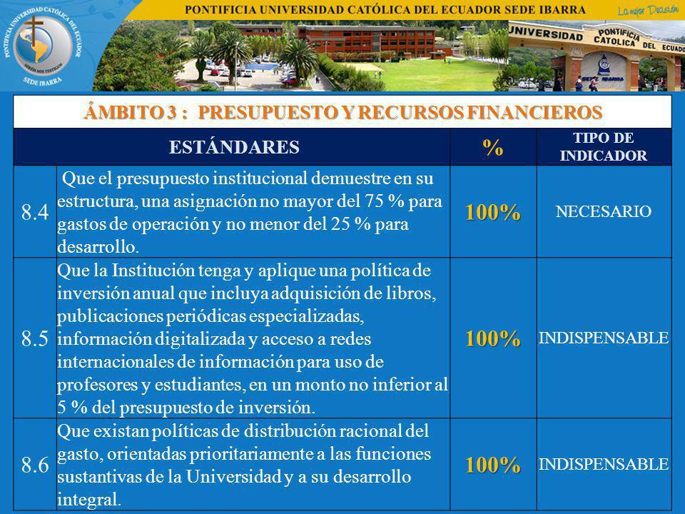 ÁMBITO 3 : PRESUPUESTO Y RECURSOS FINANCIEROS
