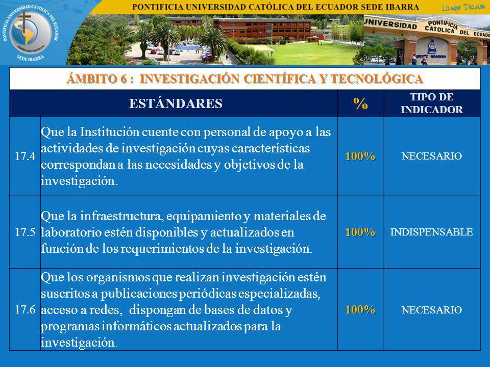 ÁMBITO 6 : INVESTIGACIÓN CIENTÍFICA Y TECNOLÓGICA