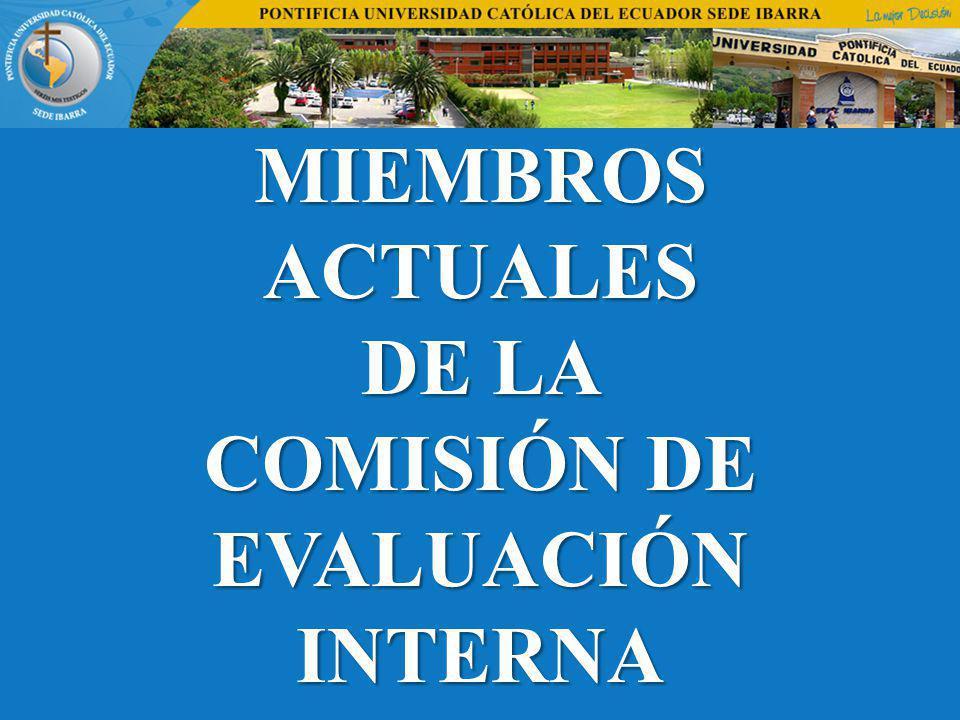 MIEMBROS ACTUALES DE LA COMISIÓN DE EVALUACIÓN INTERNA