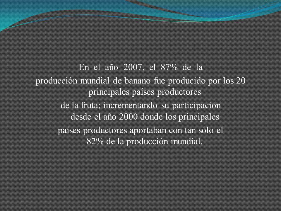 En el año 2007, el 87% de la producción mundial de banano fue producido por los 20 principales países productores.
