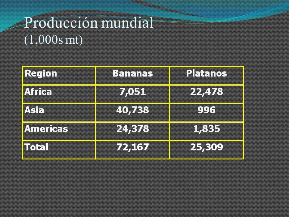 Producción mundial (1,000s mt)
