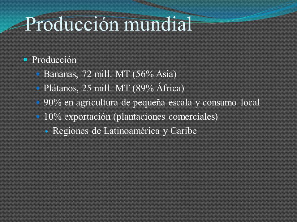 Producción mundial Producción Bananas, 72 mill. MT (56% Asia)