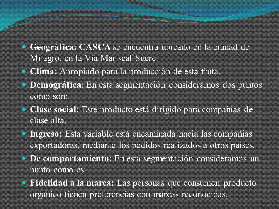Geográfica: CASCA se encuentra ubicado en la ciudad de Milagro, en la Vía Mariscal Sucre