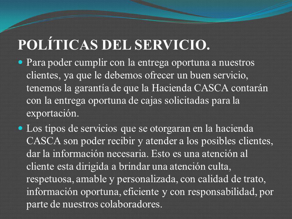POLÍTICAS DEL SERVICIO.