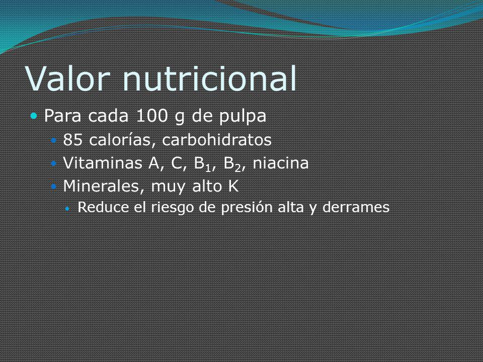 Valor nutricional Para cada 100 g de pulpa 85 calorías, carbohidratos