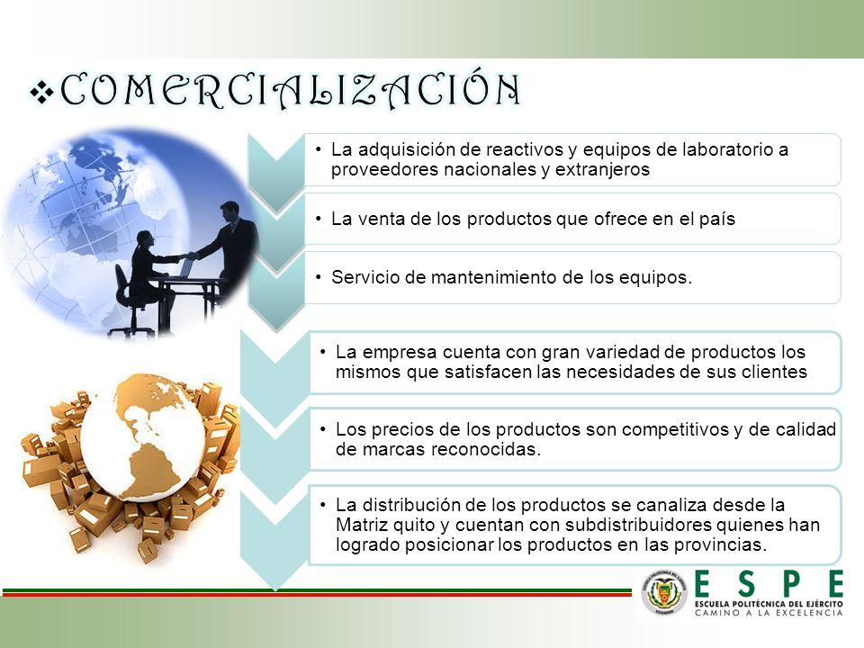 COMERCIALIZACIÓN La adquisición de reactivos y equipos de laboratorio a proveedores nacionales y extranjeros.